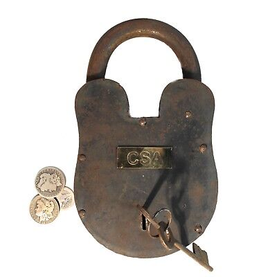 Civil War CSA Giant Padlock Iron and Brass Chest Lock 11.5inches Tall – 9 Pounds