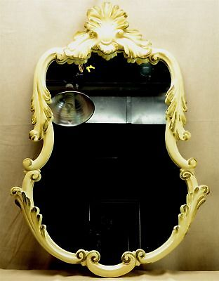 """Vintage Lg Off-White & Gold Chippendale Wall Mirror - 34 3/4"""" X 24 5/8"""""""