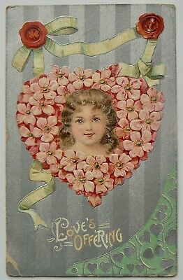 POSTCARD.GREETINGS.A LOVE OFFERING.CDS OVER 1d RED QUEENSLAND QUEEN.EARLY 1900s