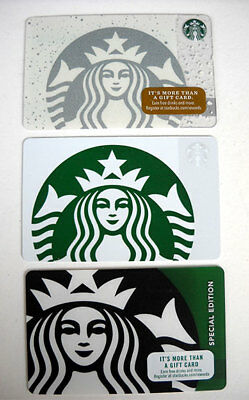 Starbucks Gift Card Mermaid Siren Holiday Snow Special Edition 3 Cards New