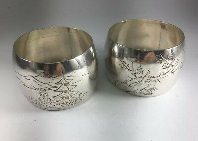Antique RARE Japanese Pure 995 Sterling Silver Etched Napkin Ring Set Of 2 M122