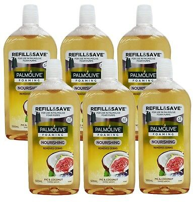 6 X PALMOLIVE 500mL FOAMING HANDWASH REFILL FIG & COCONUT - VALUE SAVER!