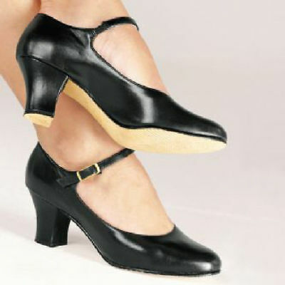 NEW CH58 So Danca Leather Character Shoes Black