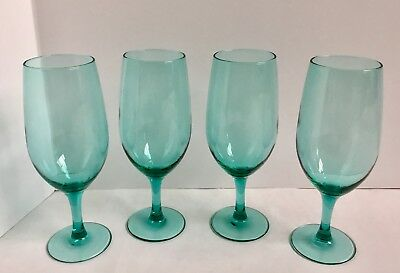 4 Vintage Teal Water Goblet Luminarc France Aqua Green Christmas Large Wine