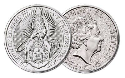 Queens Beast Griffin Of Edward - Silver 2 oz Round 9999 - From BU Mint Tube