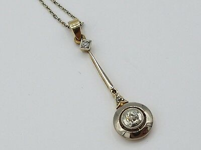 Art Deco Collier / Anhänger Gold 750 / 585 & Platin ca. 0,075ct Alt Brillant