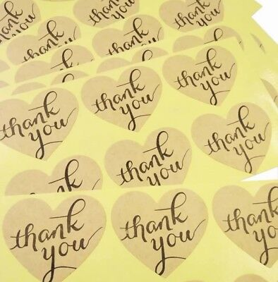 20 Kraft Paper Thank You Heart Stickers, Free Postage, Rustic, Vintage, Wedding