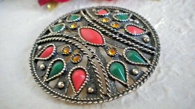 Vintage EMMONS BROOCH/PENDANT SCUDO METAL BURNISHED WITH CABOCHON MULTICOLOUR