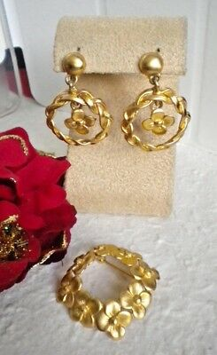 VINTAGE PARURE ANN KLEIN FLORAL GILDING BRUSHED PIN AND EARRINGS xCLIPS