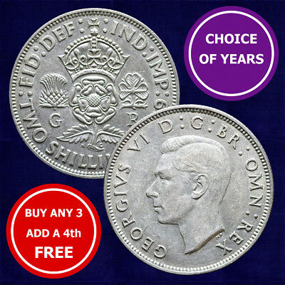 SILVER Florin : 1937-1946 : George VI : Two Shilling Coin : Choose Year