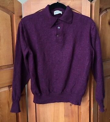 Vintage Leo Rossi Wool Purple Pullover Half Button Sweater Made In Italy Polo