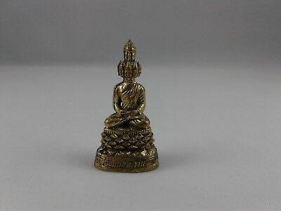 Nine Faces Buddha Thai Amulet brass statue meditating Buddhist pocket figure