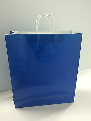 16x6x19 Royal Blue Shopping Paper Bags Gift Retail Case 200 Queen Size