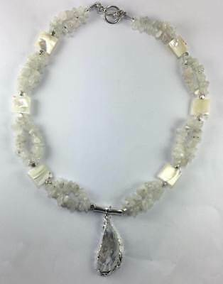 Handmade Genuine Moonstone Necklace Geode Necklace Druzy Necklace Shell jewelry