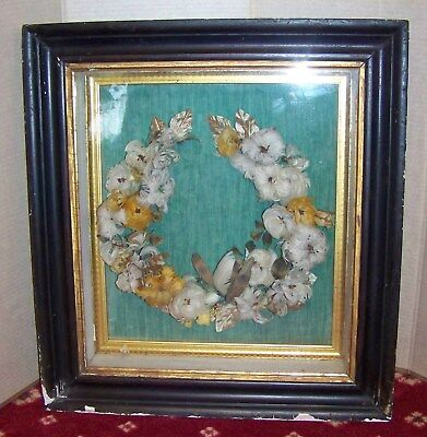 victorian  mourning feather wreath shadow box