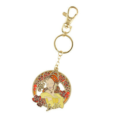 Belle Beauty And The Beast Round Stained Glass Key Chain Disney Store Japan F/s