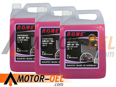15 (3x5) Liter ROWE HIGHTEC ANTIFREEZE AN-SF12+ READY-MIX -25 °C Made in Germany