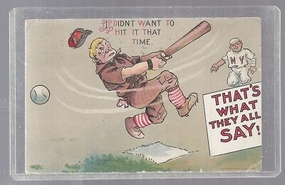 1911 Baseball N Y Portland Oregon Ralph Mitchell Thats What They All Say Strike