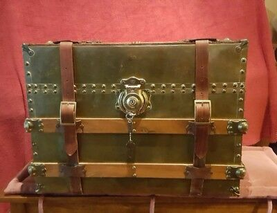 Beautiful Vintage Brass, Wood and Leather Straps Medium Size Trunk