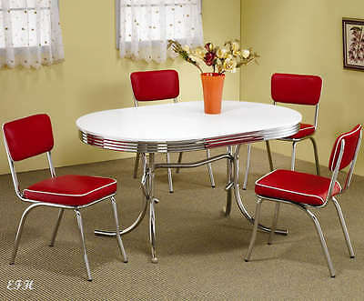 NEW 50's STYLE CHROME METAL RETRO OVAL KITCHEN DINING TABLE SET w/ RED CHAIRS
