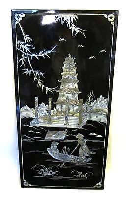 "Vietnamese Lacquer 23"" x 11.5"" Panel Mother of Pearl Pagoda Dock Phuc Loc Tho"