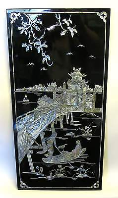 "Vietnamese Lacquer 23"" x 11.5"" Panel Mother of Pearl Bridge + Boat Phuc Loc Tho"
