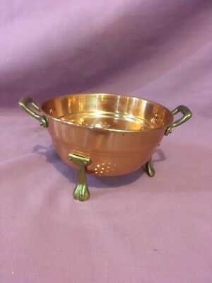 Vintage small 3-footed Copper with Brass handles legs Berry Colander Strainer AP