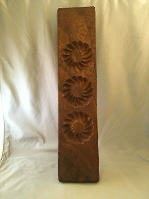 Vintage Wood Carved Candy Mold Kashigata Flowers Wooden Mold Wall Hanger Decor