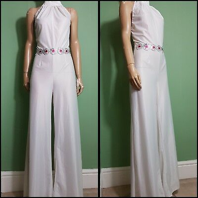 60s/70s Vintage White Halter Neck Low Back Flared Leg Jumpsuit. Disco/Flares