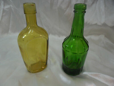 """Wheaton Colored Bottles; Lot of 2 Vintage 6"""" Tall; Amber Flask & Green Barrel"""