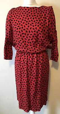 Vintage 1980s Red & Black Dress Size 10 Batwing Sleeves Pencil Skirt Unique