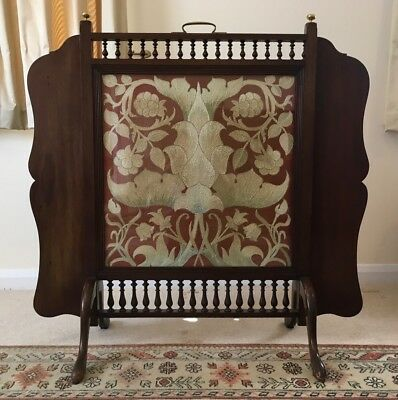 English Arts And Crafts Influenced Tapestry & Fireplace Screen