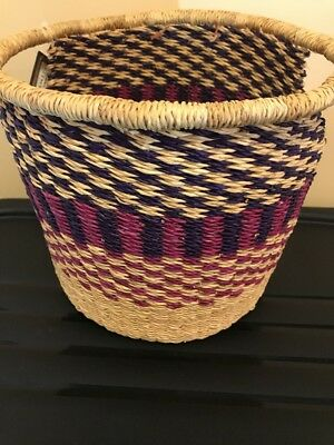 lHandmade colorful Ghana BOLGA  Basket Bucket Pale