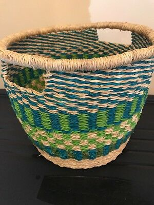 LARGe African Hand Made colorful Ghana BOLGA  Basket Bucket Pale