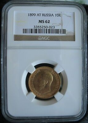 1899 AT Russia Gold 10 Roubles NGC MS-62