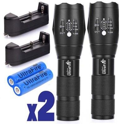2X Tactical Ultrafire Flashlight T6 High Power 5 Modes Zoom Focus &18650*Battery