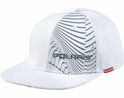Polaris White Gray Flat Billed Isobar Fitted Baseball Cap Hat Size SM / M OEM