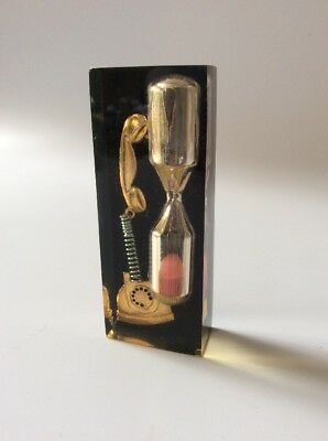 Vintage 1980 Lucite (3 Min) Telephone Call / Egg Timer Rotary Phone Hourglass