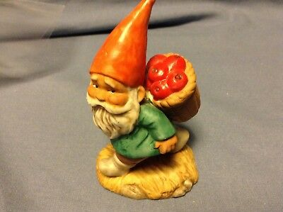 Vintage Enesco Elf / Gnome with Basket of Apples Figurine
