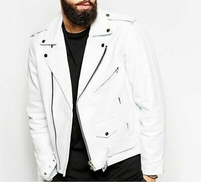2d2a785ad MENS GENUINE LAMBSKIN Leather Biker Jacket Motorcycle Style White ...