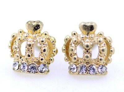 Pretty gold tone crown stud earrings, studded with crystals. Bling