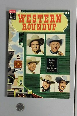 RARE Western Roundup DELL GIANT 9 1955 VF- Photo Cover Roy Rogers Gene Autry