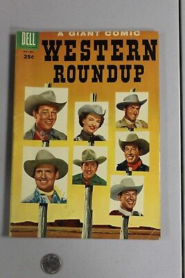 RARE Western Roundup DELL GIANT 12 1955 Fine Photo Cover Roy Rogers Gene Autry