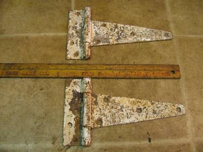 2 Vintage White Rusty Barn Door Hinges