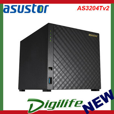 Asustor AS3204T V2 4 Bay Diskless Desktop NAS Quad Core 1.6GHz CPU 2GB RAM