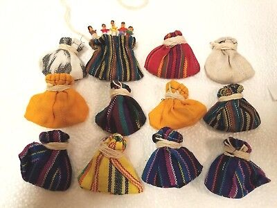 Lot of 12 small pouches w/ Worry Dolls Hand Woven Multi-Color Guatemalan Latin