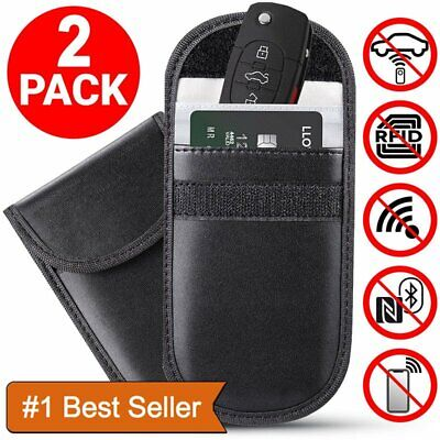 2 x Car Key Signal Blocker Case Faraday Cage RFID Blocking Bag Fob Pouch UK