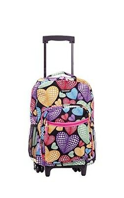 Kids Rolling Backpack Girls Roller School Bag Student Luggage Book Bags, 17 Inch