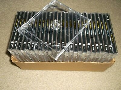 25 STANDARD Clear CD Jewel Cases with bonus cds removable inner cd dvd tray NEW!