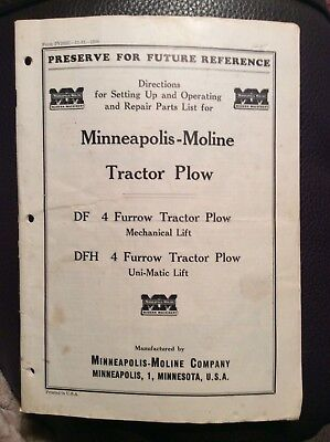 1951 Minneapolis Moline DF / DFH 4 Tractor Plow Instructions and repair manual